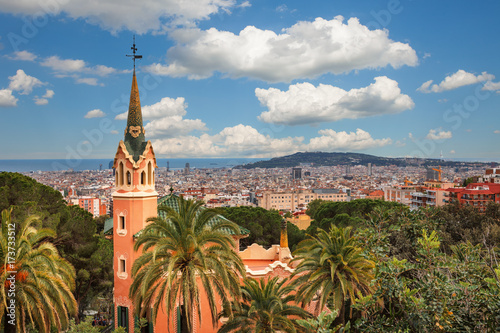 Tuinposter Barcelona Barcelona, Spain - April 19, 2016: Famous Park Guell in Barcelona, Spain. The Gaudi House Museum.