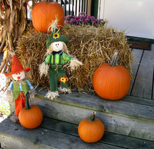 Front Steps Decorated For Fall...