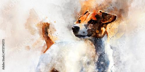 Fotografie, Obraz  Jack Russell Terrier dog. Digital watercolor painting