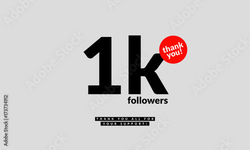 Fotografie, Obraz 1 Thousand Likes Thank You For All The Support! (Vector Design Template For Soci