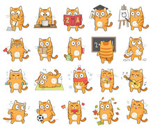 Set Of Cute Cat Character With...