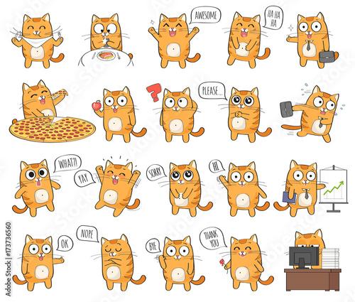 Zestaw znaków ładny kot z różnych emocji, na białym tle