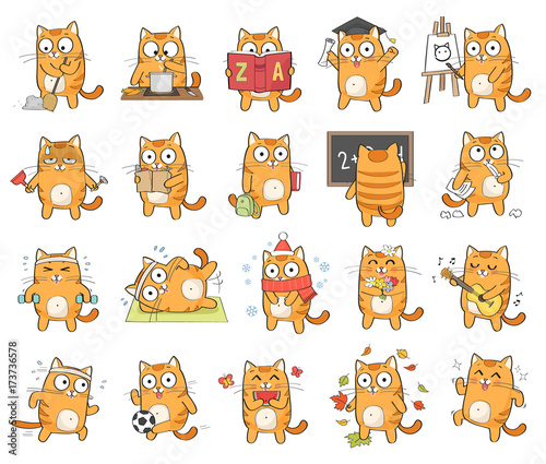 Set of cute cat character with different emotions, isolated on white background