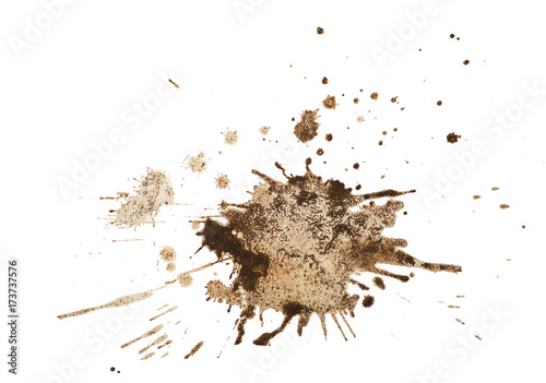 Plakat Kawowa plama odizolowywająca na białym tle