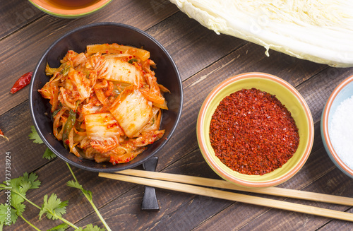 Top view of Kimchi or kimchee on wooden table