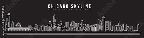 Cityscape Building Line art Vector Illustration design - Chicago skyline Wallpaper Mural