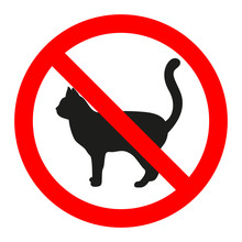 Forbidden Sign Of A Cat On A W...