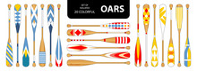 Set Of Isolated 20 Cute Colorful Oars In Red, Blue, Yellow Tone.