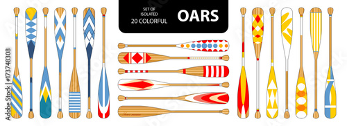 Photo Set of isolated 20 cute colorful oars in red, blue, yellow tone.