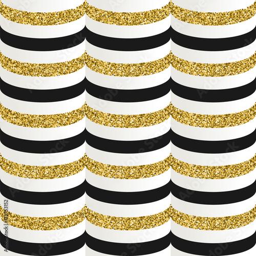 wzor-z-czarnym-bialym-i-brokatowym-zlotym-paskiem