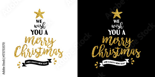 Fotografie, Obraz  Christmas gold glitter hand drawn holiday quote