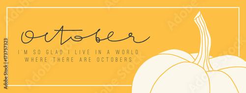 Fototapeta Cover with hand drawn pumpkin. Seasonal horizontal banner obraz
