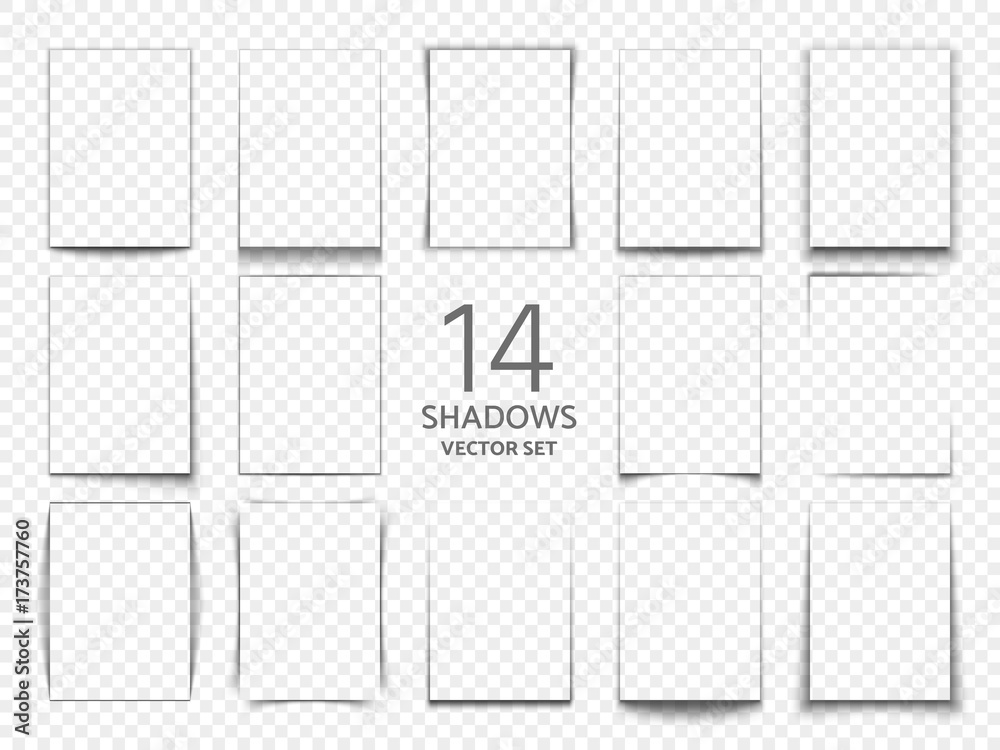 Fototapeta Rectangular shadow box frames from paper sheets. 3d transparent shadows effect