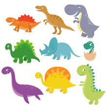Cute Baby Dino Vector Characte...