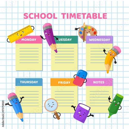 School timetable with funny cartoon stationery characters. Children ...