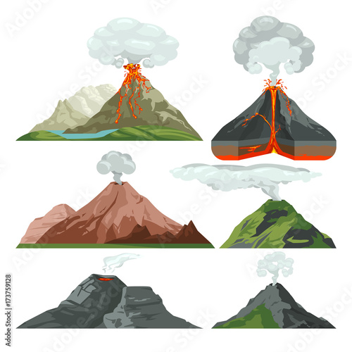 Fired up volcano mountains with magma and hot lava. Volcanic eruption with dust clouds vector set Fototapete