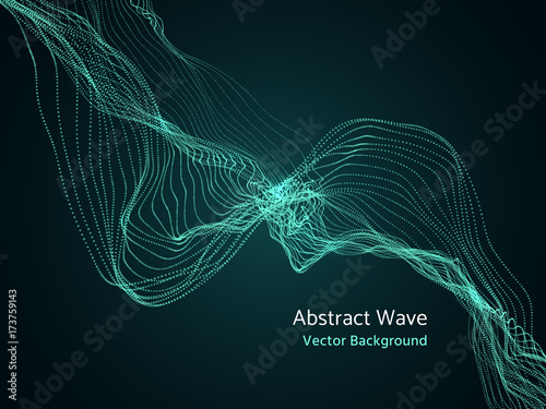 Dynamic Particles Array 3d Abstract Music Wave Dynamics