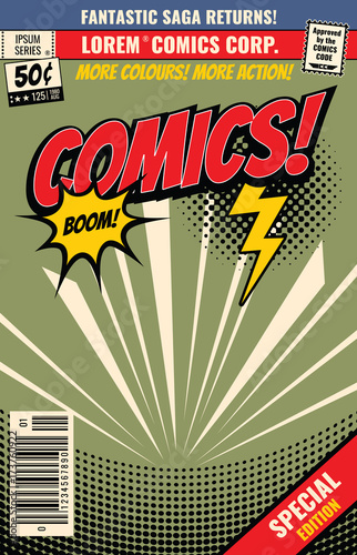 Vector comic book background with cartoon burst bubble