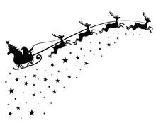 Santa Claus On Sleigh Flying S...