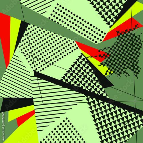 pop-art-streszczenie-geometryczny-wzor-zielony-kolaz