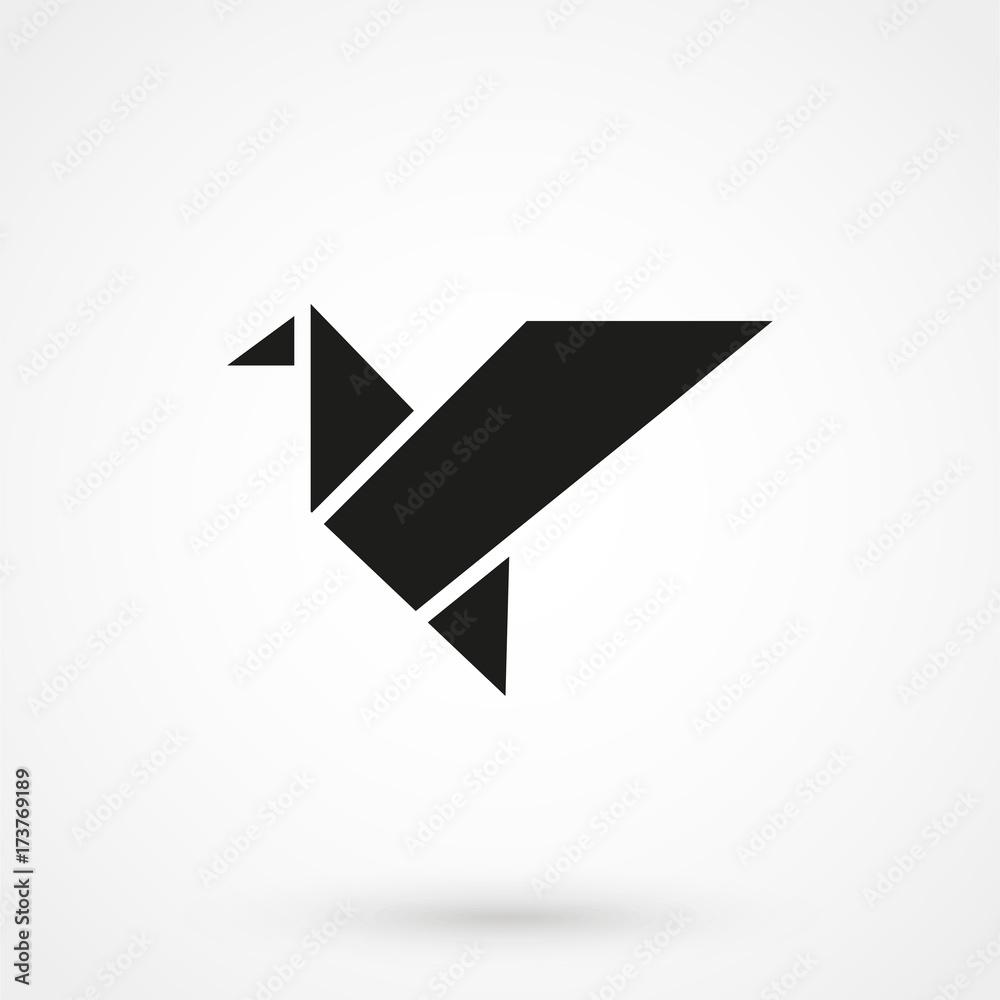 Fototapeta Bird origami icon