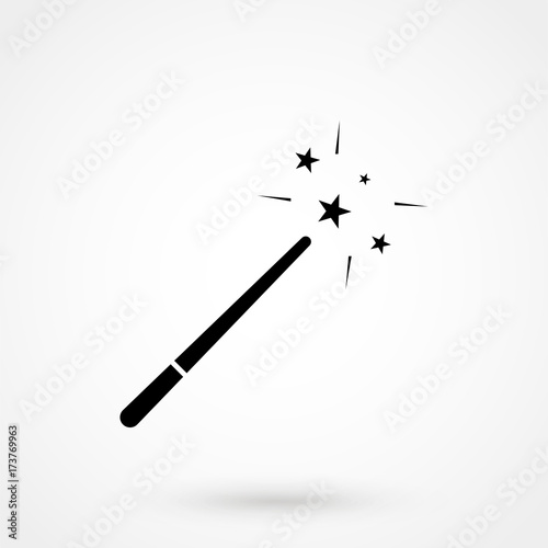 Fotografie, Obraz  magic wand icon isolated on background. Modern flat pictogram