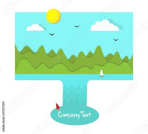 Keuken foto achterwand Turkoois surreal paper cut style background eco landscape