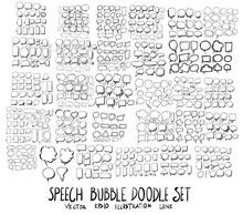 Set Of Bubble Doodle Illustration Hand Drawn Sketch Line Vector Eps10