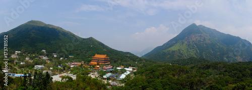 Plakat Hongkong, Świątynia Lantau, panoramiczny