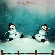 Winter Holiday Greeting Card With Two Cheerful Snowman Singing  Song.