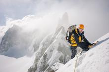 Mountaineer On High Mountain E...