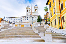 View Of The Spanish Steps On The Piazza Di Spagna In Rome.