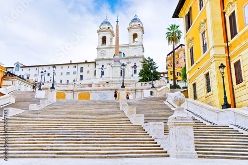 plakat View of the Spanish Steps on the Piazza di Spagna in Rome.