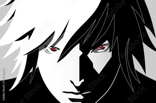 Oczy anime. Czerwone oczy na czarno-białym tle. Twarz anime z kreskówki. Ilustracji wektorowych
