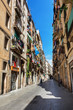 Barcelona, Spain - April 19, 2016: Medieval buildings in the Gothic Barceloneta distric