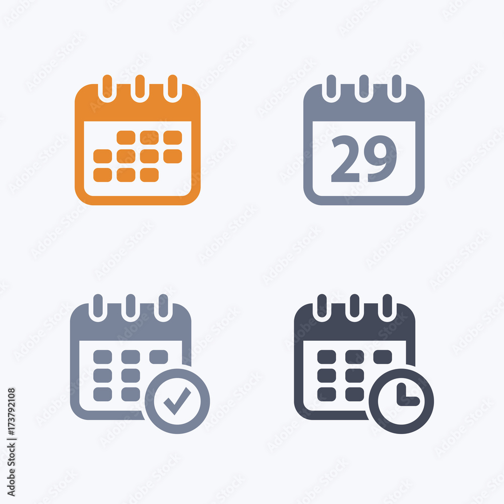 Fototapety, obrazy: Calendars - Carbon IconsA set of 4 professional, pixel-aligned icons designed on a 32x32 pixel grid.