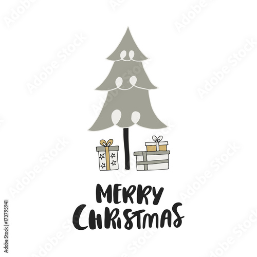 Printed kitchen splashbacks Christmas Merry Christmas - unique hand drawn Christmas card with lettering, gift boxes and New Year tree. Christmas clip art.