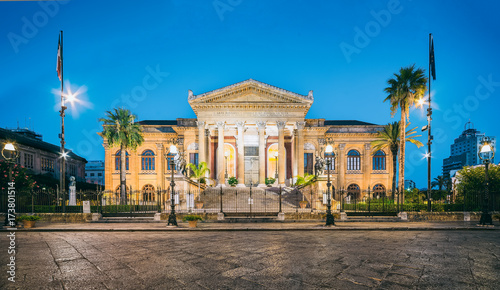 Tuinposter Palermo The night view of Teatro Massimo - Opera and Ballet Theater in Verdi Square, Palermo, Sicily, Italy