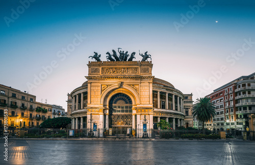 The morning view of the Politeama Garibaldi theater in Palermo, Sicily, Italy