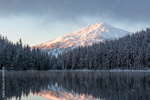 Snowy Mountain Lake Sunrise