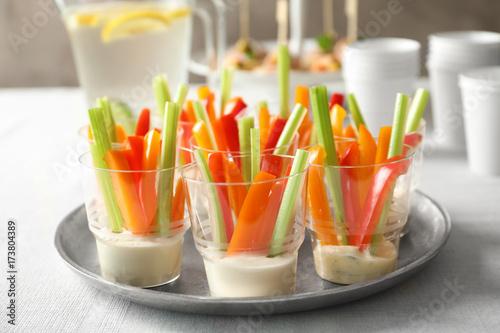 Spoed Fotobehang Voorgerecht Delicious appetizers for baby shower on metal plate