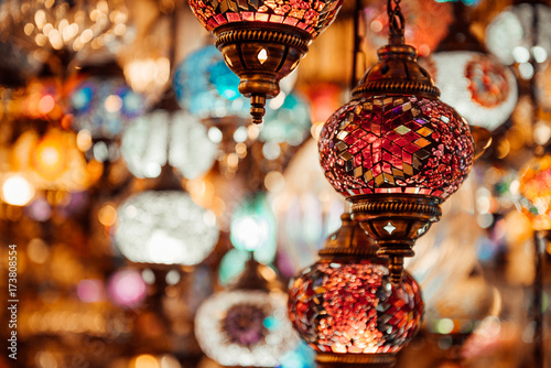 Traditional colorful turkish lamps in market, Istambul, Turkey Wallpaper Mural