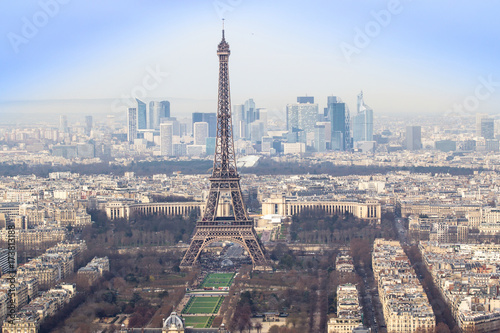 Photo sur Toile Europe Centrale Eiffel Tower and Paris cityscape