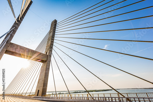 Cable-stayed bridge over Parana river, Brazil Fototapet