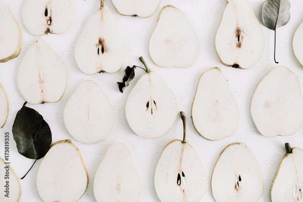 Fototapety, obrazy: Pear slices pattern. Flat lay, top view minimal texture.