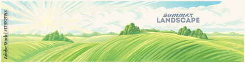 Poster Wit Morning rural landscape with hills, an elongated format for the convenience of using it as a background.