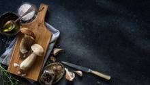 Autumn Cooking  Background;  Organic Porcini Mushroom; Seasoning Forest Mushroom And Italian Spices Herb