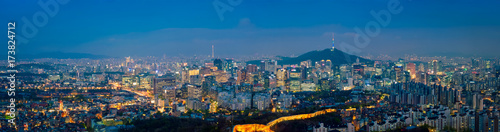 Photo Seoul skyline in the night, South Korea.