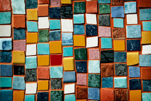 Mosaic With Colored Tiles On A Wall