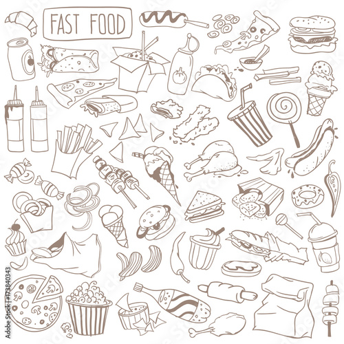 Fast Food Doodle Set Popular Street Food Snacks And Take Away